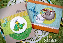 "In Slow Motion - Celebration Stamp Set / This 4 x 6 stamp set is filled with fun ways to say hello and happy birthday. Packed with fun ""slow"" themed animals and sentiments, they are also great for belated birthday cards!"