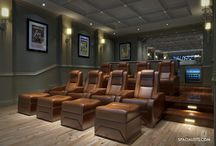 Private home theater room - 3D rendering / Why deal with the lines and crowds when you can enjoy a theater experience in your own home?  There is a special and unique cinematic experience while enjoying a movie right at the comforts of your home. Most importantly you can pause the movie any time and enjoy shows at your own leisure.   Take a look at our latest project that demonstrates the beauty, design and comforts of a home theater.   SPACIALISTS is a 3D Visualization and design firm.