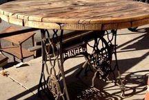 mesas con patas de máquina de coser
