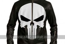 White Skull Punisher Black Leather Jacket / Get this Punisher Skull Black Motorcycle Jacket from Sky-Seller at most discounted price with free shipping.