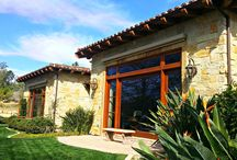 Rancho Santa Fe Exterior Painting / Tuscan style San Diego home. warm wood tones, Stacked stone