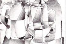 zátiší/kresba/kubismus