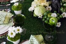 zöld fehér asztali díszítő