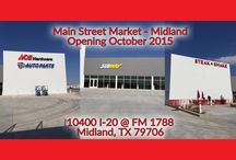 Travel Stops - Main Street Market Midland, TX / Main Street Market in Midland, TX is the perfect travel stop! You can fuel up, get groceries and grab a meal from Steak N' Shake or Subway.  We also have an Ace Hardware!  Visit us at 10400 Interstate 20 Business * Midland, TX * 79706