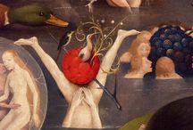 Jérôme Bosch ( 1450 - 1516) / Renaissance en Europe au XVI.  Féroce, drôle ou trivial, ignore l'idéal italien et se fait l'interprète de la terreur liée aux péchés de l'homme. Son oeuvre symbolique, multiplie les détails et grouille d'inventions.