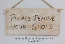 Signs: White Washed Sign, 'Please Remove Your Shoes' quality Signs Hand crafted hand made in Australia