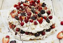 Food. Pavlova and different types of merengue and merenguebased cakes