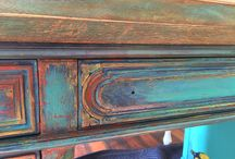 Bohemian Chic upcycle! A total revamp on this beautiful old desk. Coming soon in time for Holiday shopping