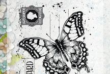 Noor stempel old letter butterfly