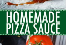 pizza sauce, dough