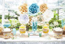 A&K Lolly Buffet {Yellow, Aqua & White Floral Rustic Wedding Lolly Buffet} / http://aandklollybuffet.com.au/yellow-aqua-white-floral-rustic-wedding-lolly-buffet/