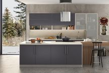 Purple modern kitchen / latest standard kitchen designed by Oppein.