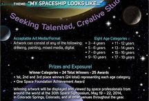 """My SPACESHIP : International Students Art Contest / The Space Foundation : International Student Art Contest ~ 2014  Theme ~ """"My Spaceship Looks Like...,""""  Child Age ~ 3 – 18 years Art Sheet ~ Provided by ezoneINDIA Venue ~ Your Office To Bring ~ Crayons, Color Pencils, Sketches, Water Paint or any other Deadline ~ 12:00 UTC November 15, 2013  For your children to experience space and the outer universe call Sulaiman at 98405 75555  To get more details check www.artsonia.com/space."""