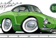 Karikatury VW Beetle, Karman, Transporter