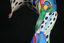Abstracte vorm met panty en gesso