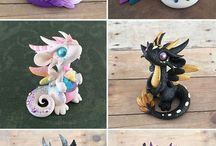 Mininature clay dragons