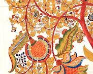Kalamkari / The term Kalamkari is derived from kalam, the Persian word for pen and kari, which means work. Kalamkari is the art of painting cotton fabrics with a kalam, a sharp pointed bamboo stick padded with hair or cotton and tied with a string on one end to regulate the flow of color. From giant tapestries to small squares, these cloth paintings are densely packed with characters and storyboard narratives. The themes are traditionally chosen from the Puranas or epics.