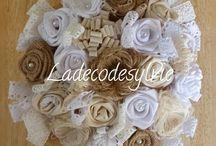 Mariage toile de jute, blanc et ivoire / Bouquet de Mariée avec Boutonnière assortie ainsi que décoration de table...