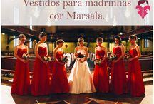 Vestidos para Madrinhas de Casamento Marsala Vermelho