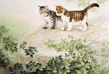акварельные кошки