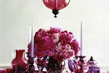 Dining table decoration ideas / Add a splash of cranberry and plum to your table scape.