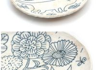 Clay soap dishes etc