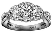 14k White Gold 1 1/4 cttw Diamond 3-Stone Ring