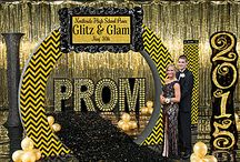 "Glitz & Glam Prom Theme / Gold and Black are what's ""in"" this year, the Glitz & Glam kit is perfect for a trendy Prom! / by Stumps Party"