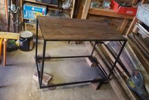 Recycled timber decking Table steel legs