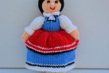Switzerland & Bulgaria Folk Dolls / Original knitting patterns from - http://edithgrace.blogspot.co.uk/