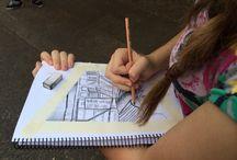 School Trips, students working / Australian International Activity week. A week long art course.