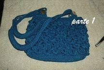 Bolso crochet azul petroleo