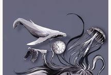 """""""A soidade das medusas"""" /  Ilustracións de Luz Beloso creadas para """"A soidade das medusas""""escrito por Iria Collazo López , editado por Galaxia"""