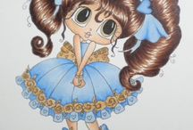 Big eyes doll's card and coloring