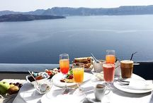 Breakfast by our Lovely Pool... / Start your day with a full of vitamins breakfast and an amazing volcanic view... The view of Santorini! Find out more here: http://goo.gl/aNQbFc
