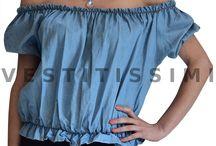 Maglia donna maglietta scollata top carmen gitana ruches maniche corte nuova M04