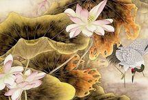 grulla con flores