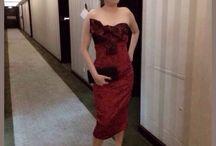 Coctail Dress / Red Brocade Dress