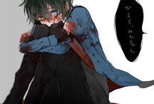 Dark bloody anime boy