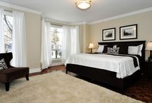 Master Bedroom / How to decorate to be comfortable but trendy while on a budget. Monograms and paint colors, too!