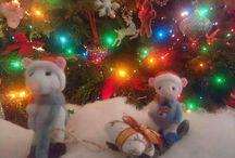 Christmas mice sledging