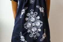 Blue & white embroidered dress