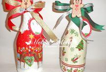 Botellas decoradas para Navidad / Botellas decoradas para Navidad con apiques en MDF