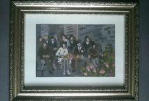 malarstwo / Portret rodzinny. Tempera na papierze