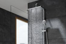 Even-T / New shower columns featuring advanced materials that include thermostatic mixer, multifunction handshower and a big showerhead available in round and rectangular versions.