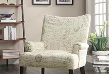French Script Upholstered Chairs & Chests / I'm loving these budget-friendly French script chairs, chests and storage ottomans. Fabulous!