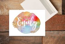 The Grayson Project - Custom Name Greeting Cards / Greeting Card, Custom Name Greeting Card, Water Color Greeting Card, Gold Greeting Card, Floral Greeting Card, Custom Card, Custom Name Card