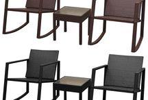 Garden Table Chair Set Furniture Patio Rattan Waterproof Lounge Comfort Rocking