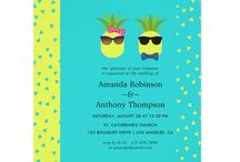 Turquoise and Lemon Tropical Summer Beach Wedding / Fun Pineapple Cartoon Beach Wedding suite featuring hot color combo trend turquoise and lemon.