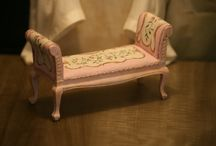 Montheron Dollshouse Miniature Couches / miniature couches, sofas and benches
